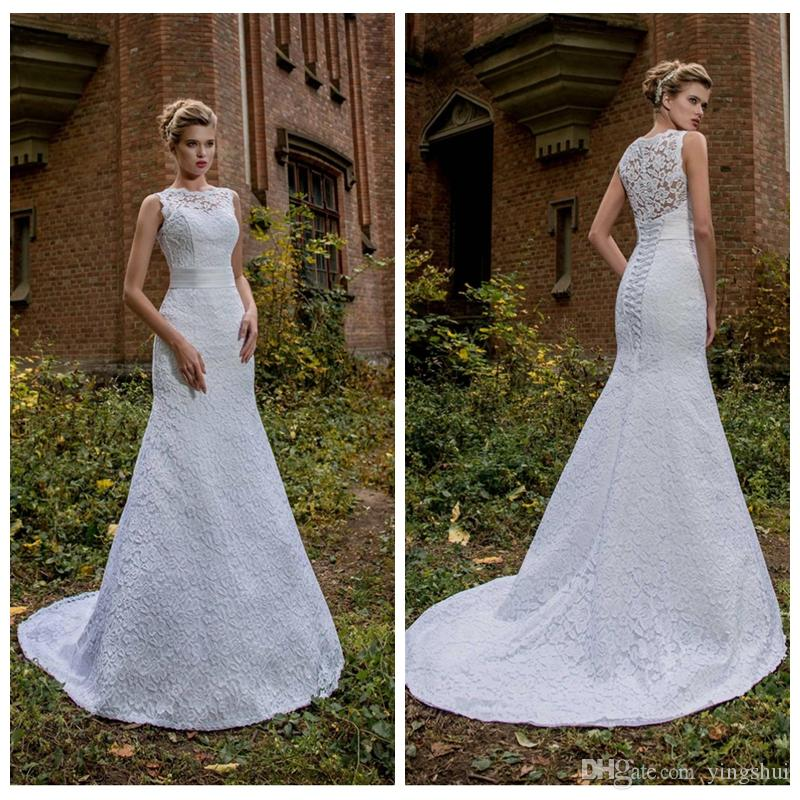 White Lace Wedding Dresses New Romantic Lace Wedding Dresses Elegant Jewel Sleeveless White Ivory Customized Mermaid Bridal Gown Vestidos De Novia