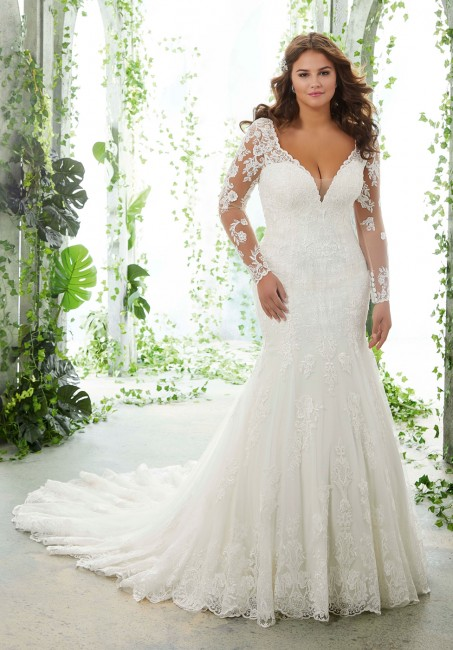 mori lee 3251 paola long sleeves plus size wedding gown 01 578