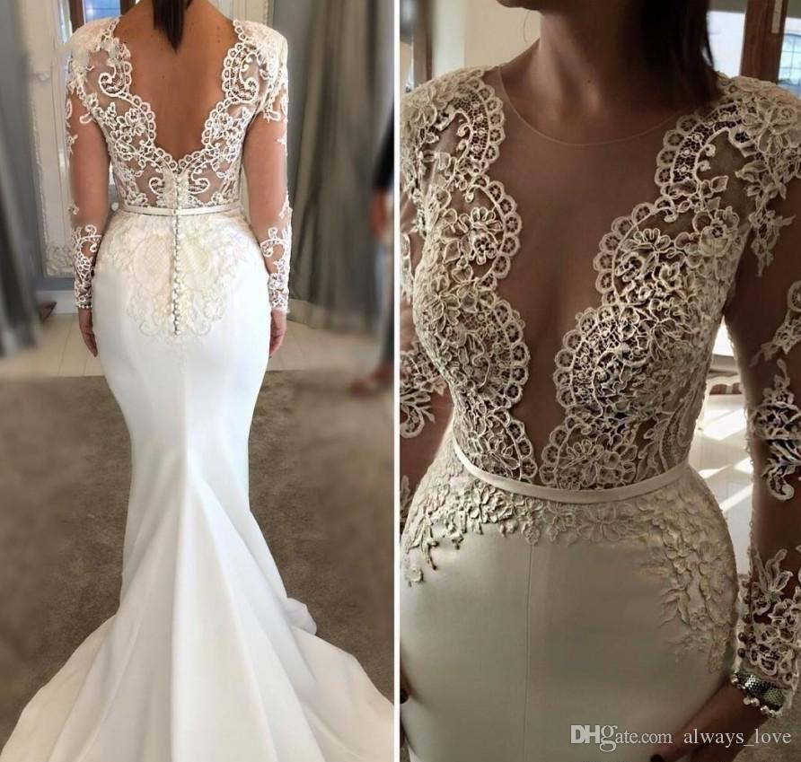White Mermaid Gown Elegant Long Sleeve Wedding Dress Ivory White Mermaid Sheer Neck Lace Appliques Garden Country Church Bride Bridal Gown Custom Made Plus Size