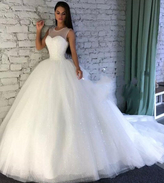 White Sequin Wedding Dresses Inspirational Discount Sparkling Wedding Dresses with Sheer Jewel Neckline Sequins A Line Wedding Dress with Count Train Custom Made Bridal Gowns Plus Size Wedding