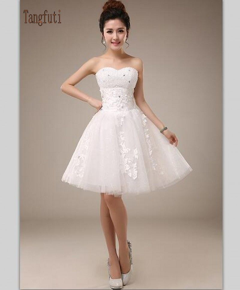 White Short Wedding Dresses Cheap Lovely to Buy White Short Wedding Dresses Sweetheart Beads