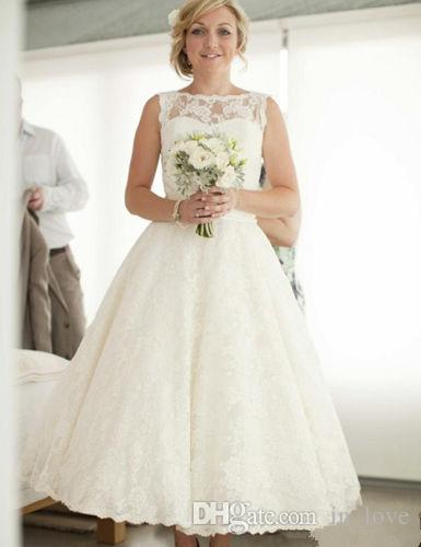 50s vintage ankle length wedding dress bateau