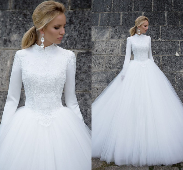 White Sundress Wedding Awesome Long Sleeves Muslim Wedding Dresses 2019 Elegant High Neck Long Sleeves Lace Satin Tulle Floor Length Ball Gown Bridal Dresses Wedding Gowns Wedding