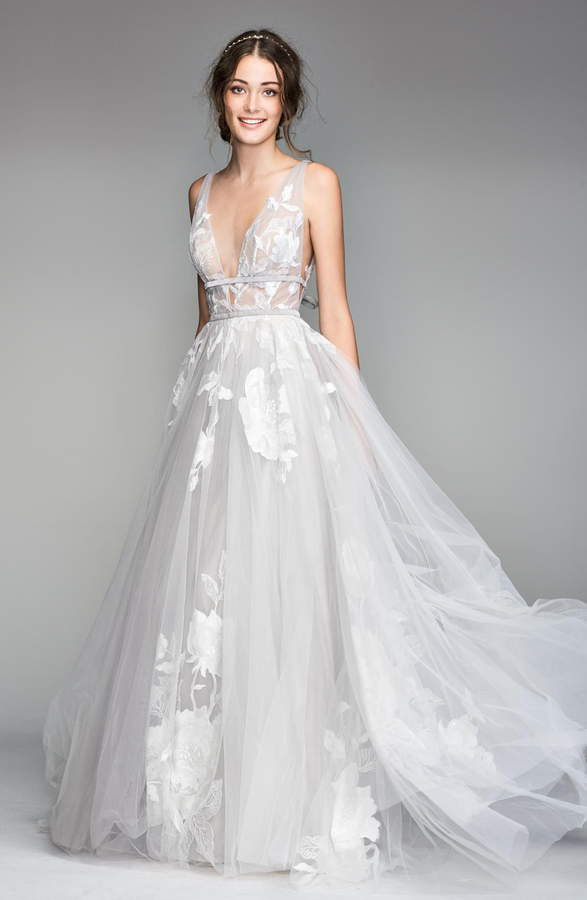 Willowby Galatea Embroidered V Neck Tulle Wedding Dress