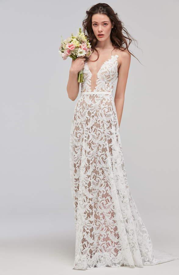 ASA Willowby Sleeveless V Neck Lace & Tulle Wedding Dress