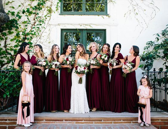 b455 burgundy bridesmaid dresses and blush flower girls for burgundy and blush wedding
