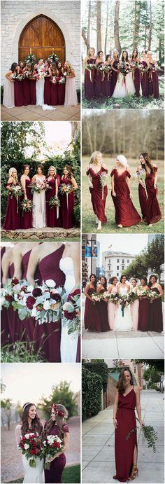 aa0e029cabb177c415ef9d8c1b12a436 burgundy bridal party fall bridesmaid dresses burgundy
