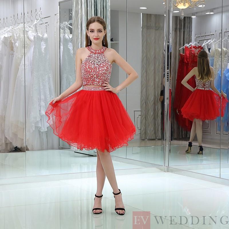 Glamorous Princess Halter Diamond Organza Cocktail Dress OD 1
