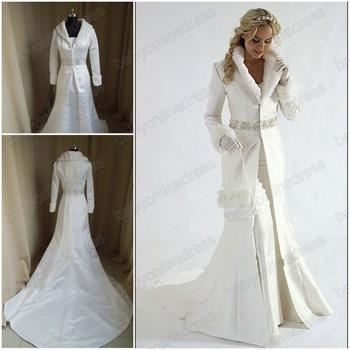 Winter Wedding Cloaks 2013 Hot sale Bridal Cape Ivory fur A line coat satin winter wedding 350x350