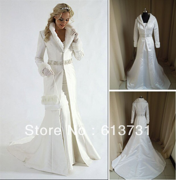 Wholesale Ivory Fur A line Coat Strapless Satin Winter Wedding Dresses gowns With Cape Shawl Long