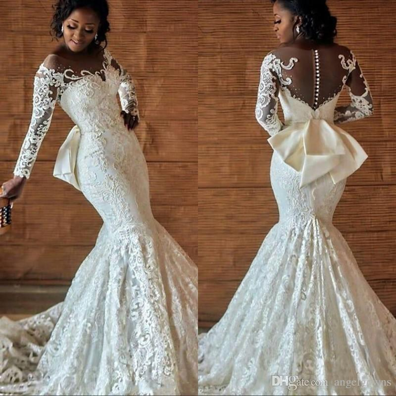 bow mermaid wedding dresses for african