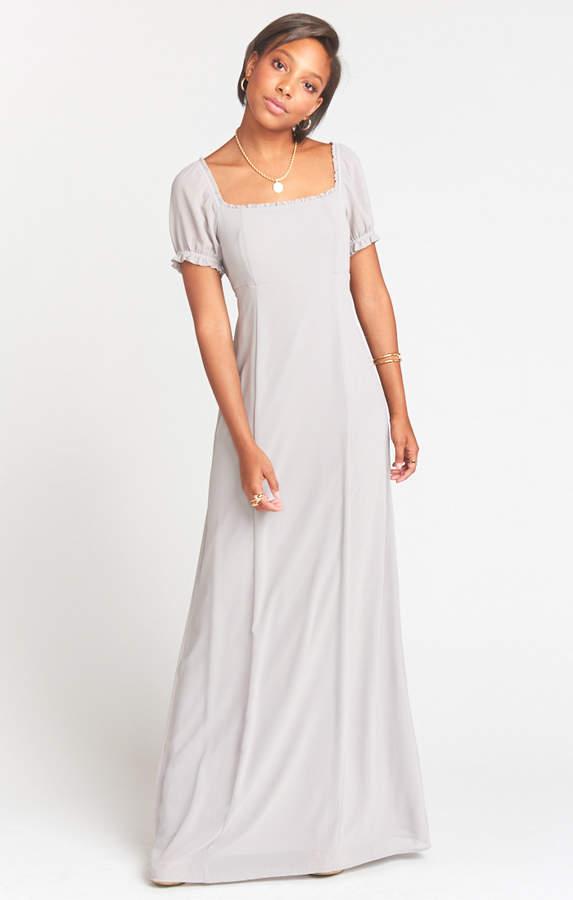 Show Me Your Mumu Brittany Maxi Dress Dove Grey Chiffon
