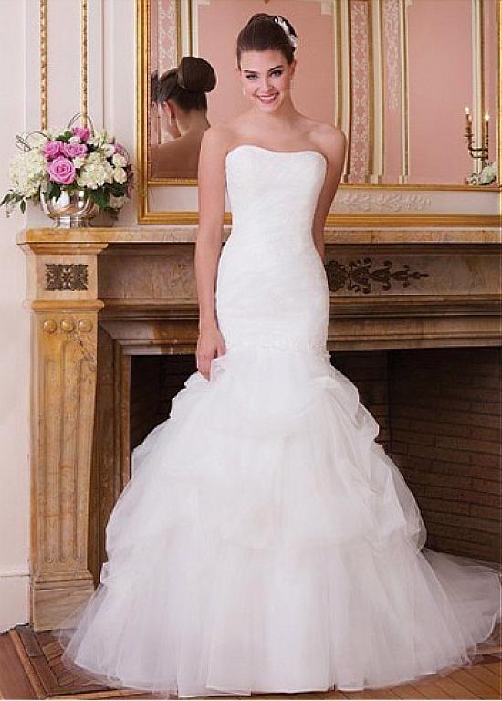 satin mermaid wedding gown unique attractive tulle satin mermaid strapless dropped waist wedding dress